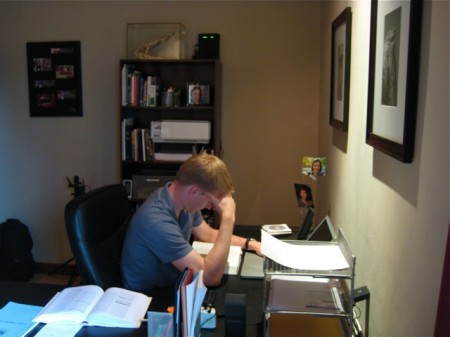 Matt Studying at Desk