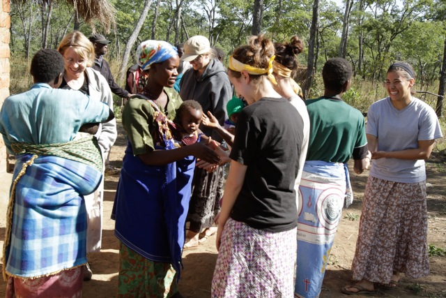 Goodbyes with village women
